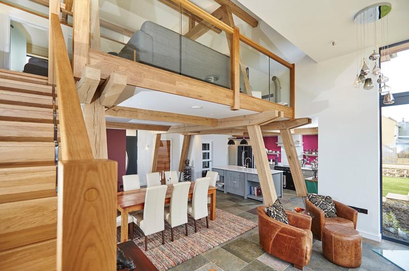 Modern oak-framed home interior